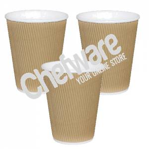 Fiesta Ripple Wall Takeaway Coffee Cups Kraft 225ml / 8oz box of 400