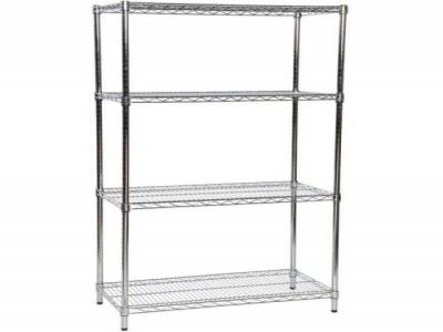 Static Shelving Unit Eclipse Chrome Wire 4 Tier Static Shelving Unit