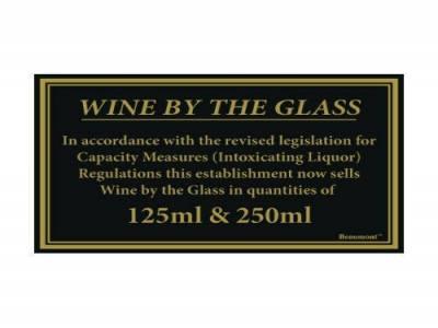 170x110mm 125ml & 250ml Wine Law Sign