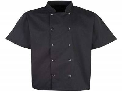 Unisex Chefs Jacket Short Sleeve Black XL 46-48