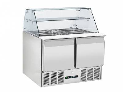 Blizzard BPD2-ECO 220 Ltr 2 Door Compact Refrigerated Prep Counter with Display